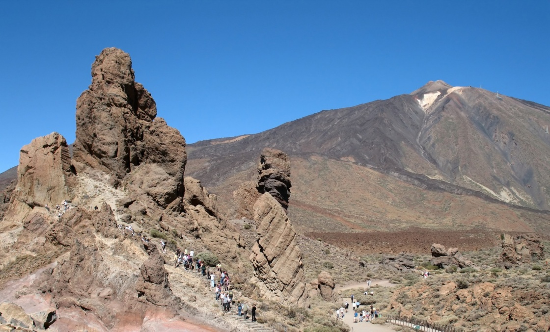 The Roques de Garcia mountains and the Teide volcano as a background (Las Canadas national park, Tenerife).